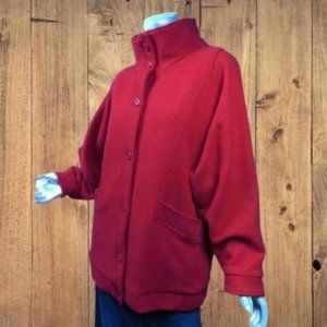 Vintage 80s Red Woolrich Wool Jacket Plaid Lining Convertible Collar Relaxed Fit